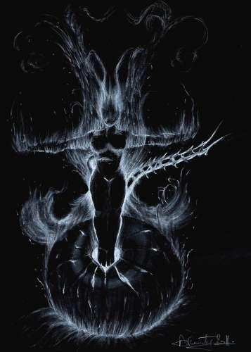 illustration, dessin, symbolique, démon, enfer, feu, flammes,