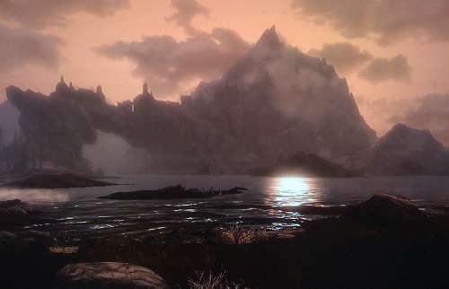 skyrim,rpg,jeu vidéo,pictures,images,paysages,style nordique,screens,screenshots,panoramas,montagnes,neige,viking,dragon